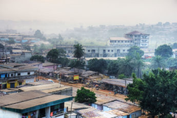 view of polluted air in a city in Cameroon