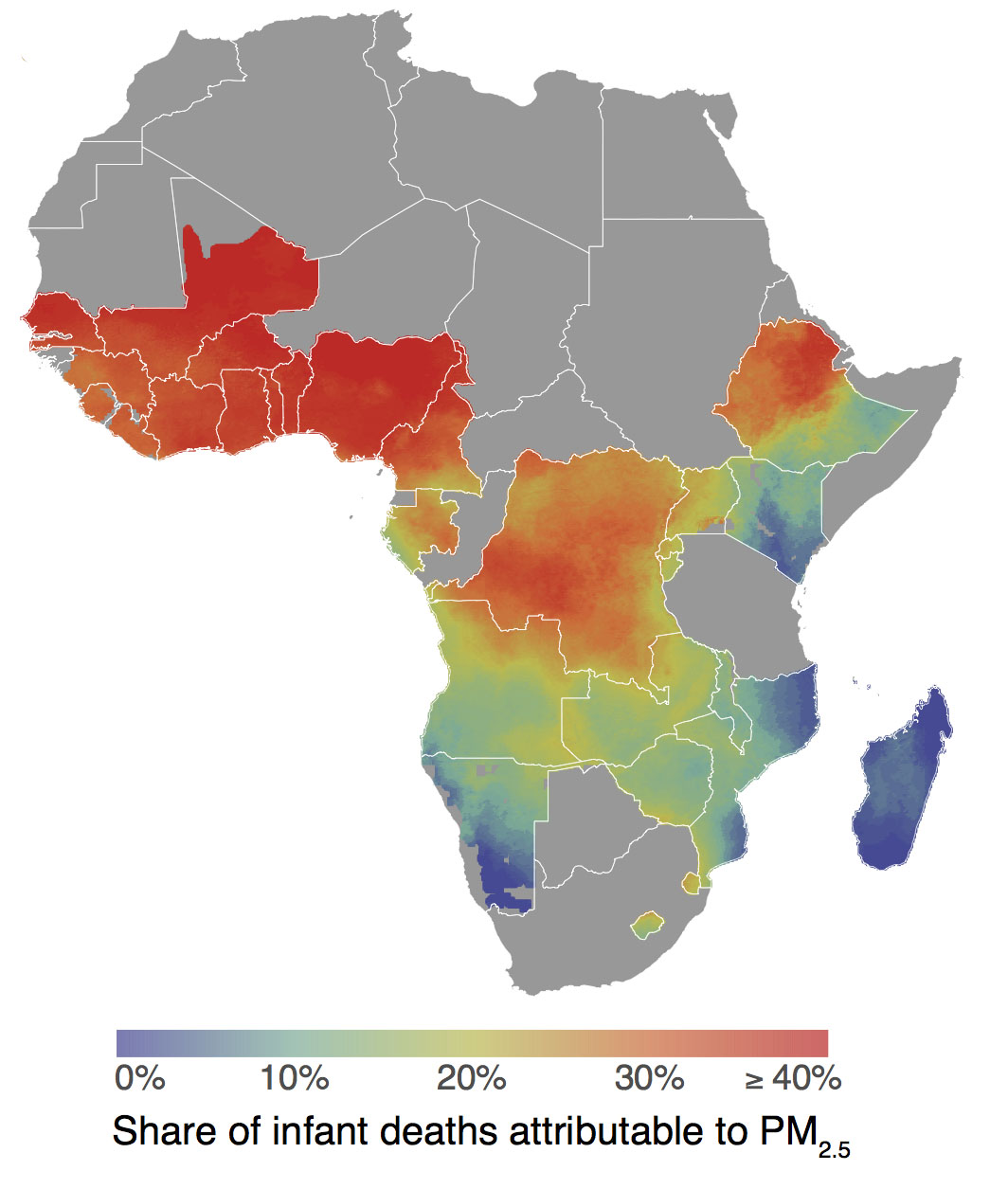 heat map of share of infant deaths in sub-Saharan Africa attributable to particulate matter