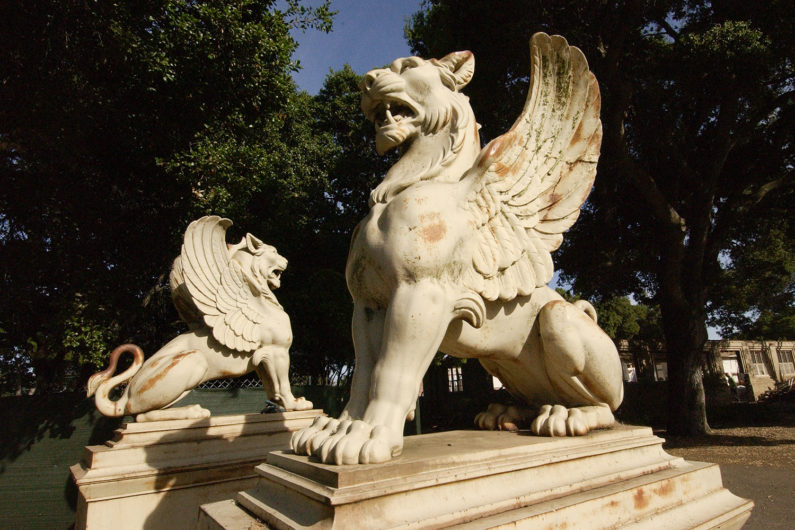 Griffin statues before they were placed in Ford Plaza in 2004.