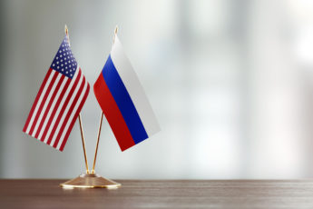 American and Russian flag pair