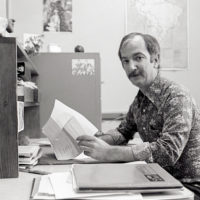 James M. Breedlove works at the Stanford University Libraries in this 1976 photo.