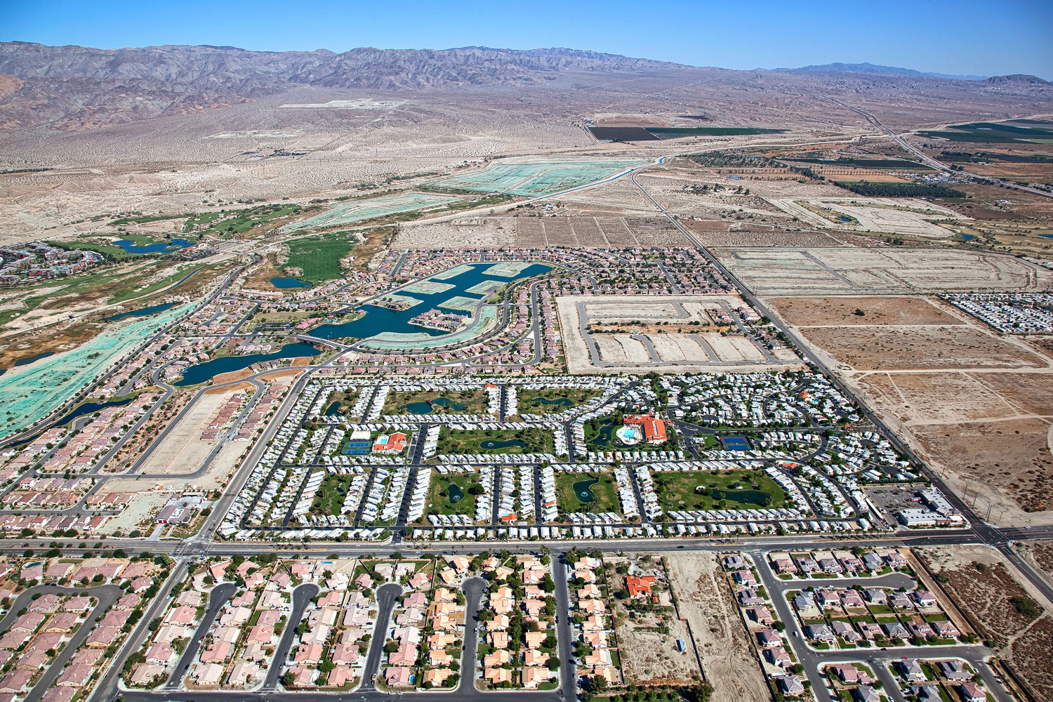 Local water agencies have pumped so much water from aquifers to supply homes, farmland and resorts in the Coachella Valley that the land is sinking. The Agua Caliente Indian Reservation, created in 1876, runs in a checkerboard pattern in the area of Palm Springs.