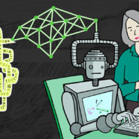 cartoon style drawing of a robot at a computer while a woman with a clipboard looks on