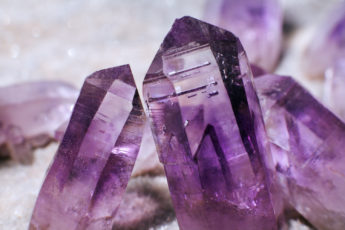 macro shot of amethyst crystals