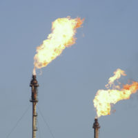 Gas flaring at a refinery.