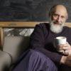 Leonard Susskind drinking coffee