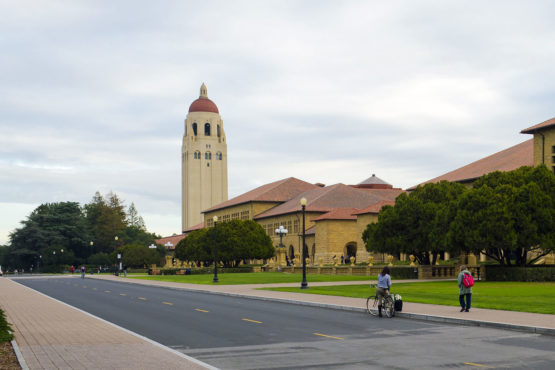 a view of Serra Mall toward Hoover Tower from near top of Oval