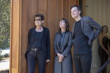 Artist Ursula von Rydingsvard, left, watches with Roberta and Robert Denning.