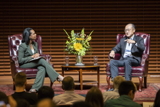 World Bank Group President Jim Yong Kim speaks with Stanford Professor Condoleezza Rice.