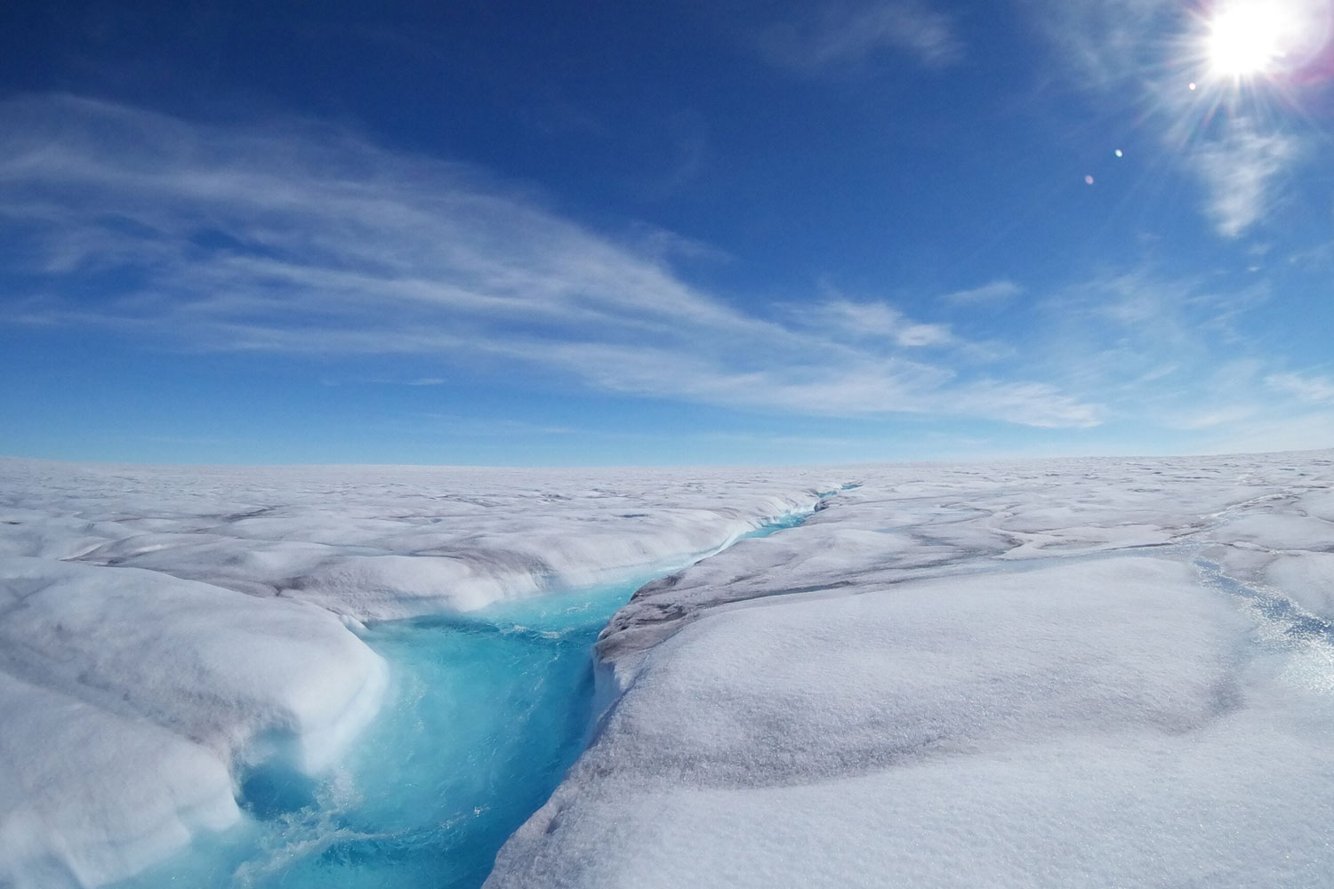 A fast-flowing meltwater stream in Store Glacier, Greenland.