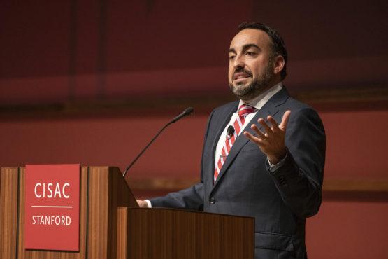 Alex Stamos speaking at a podium