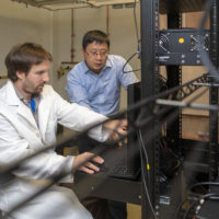 Researcher Greg Nachtrab, left, and Assistant Professor Xiaoke Chen