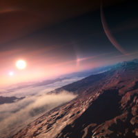 artist's rendering of an exoplanet seen from its moon