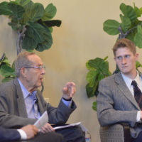 Former U.S. Secretary of Defense William J. Perry in conversation with Jonah Glick-Unterman, '20, at a symposium hosted by the Stanford Nonproliferation Activism Project.