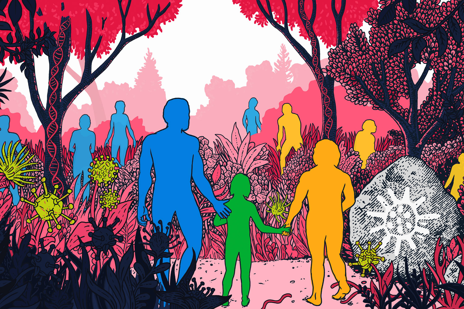 artists rendering of human silhouettes in a landscape with representations of viruses and DNA helixes