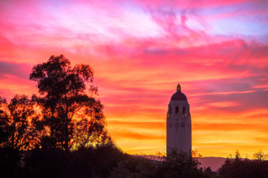 sunset over Hoover Tower