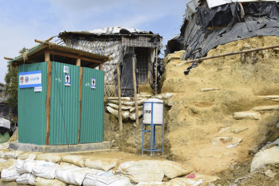 Toilets in refugee camps