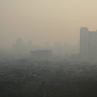 Smog covers a neighborhood in Delhi, India.