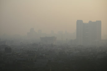Smog covers a neighborhood in Delhi, India.