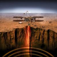 An artist's illustration shows the InSight lander on Mars.
