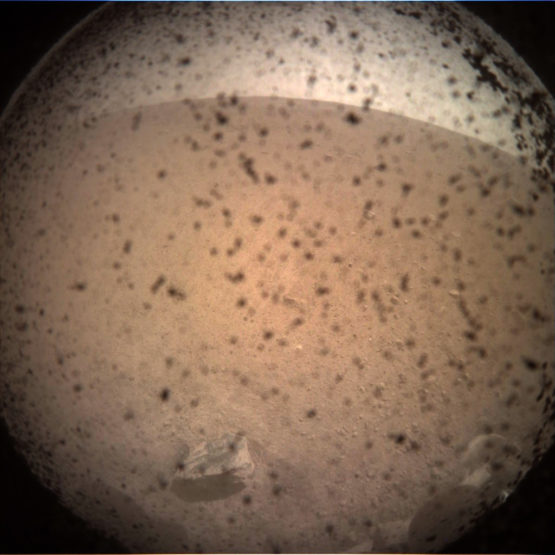 This is the first image of Mars captured by the InSight lander.