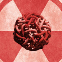 Radioactive Gordian Knot -- radiation symbol with a knotted chain at its center