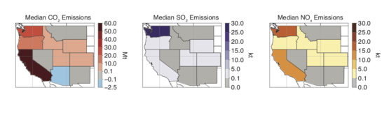 Maps showing emissions in 11 states
