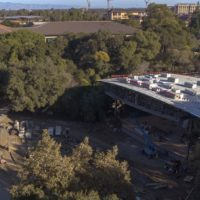 aerial view of Frost Amphitheater renovation