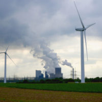 Wind turbines and Brown coal power plant in Bergheim, Rhine-Erft, Germany.
