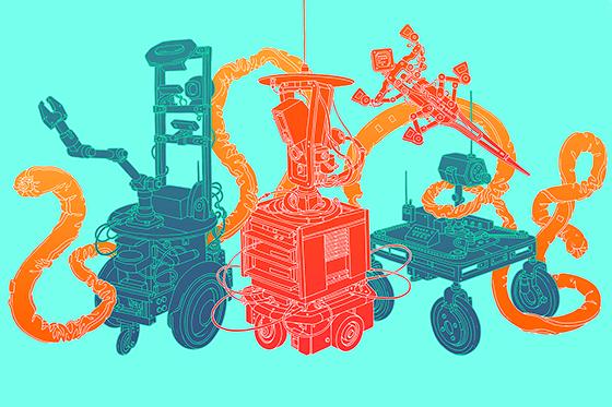 Five robots arranged side-by-side
