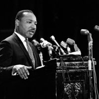 Martin Luther King, Jr. at Memorial Auditorium.