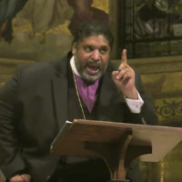 William J Barber II speakingin Memorial Church for 2019 MLK program