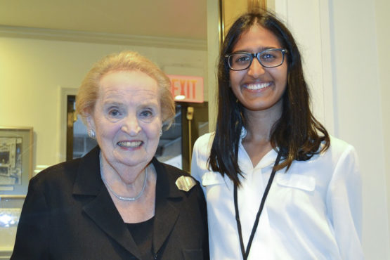 Kendra Mysore with Madeleine Albright.