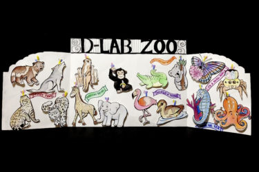 "A card filled with drawn animal ornaments underneath a sign that says ""D-Lab Zoo."""