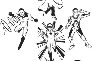 "Four people depicted as superheroes over the words ""Photonic 4"""