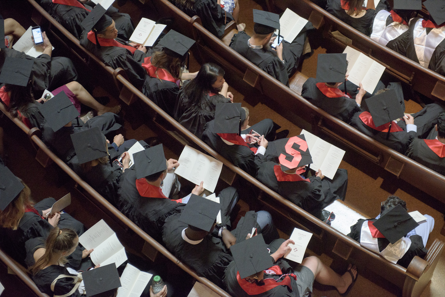 Members of the class of 2016 gather in Memorial Church before the 125th Baccalaureate Ceremony.