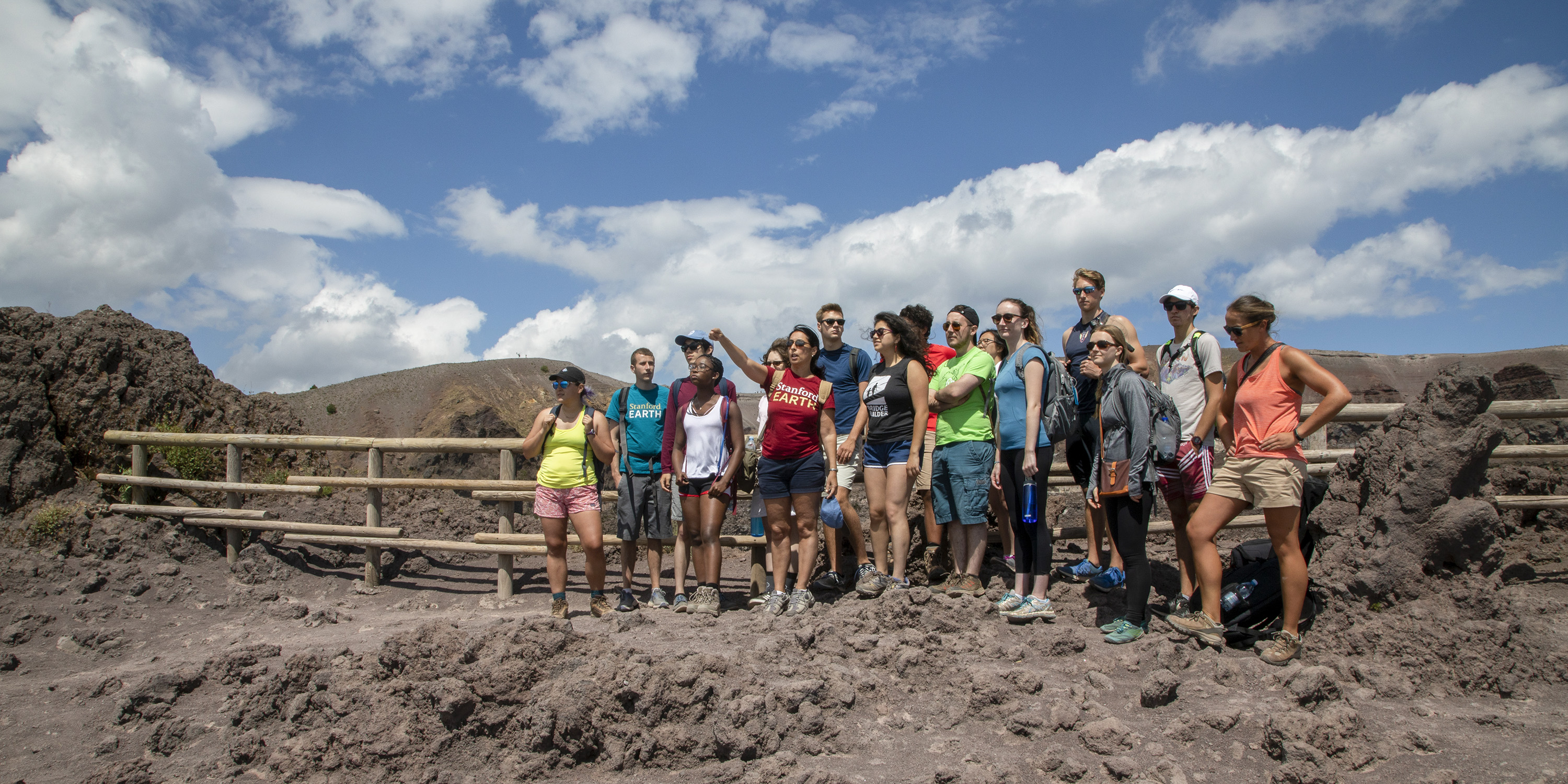 A class assembled at the top of Mt. Vesuvius