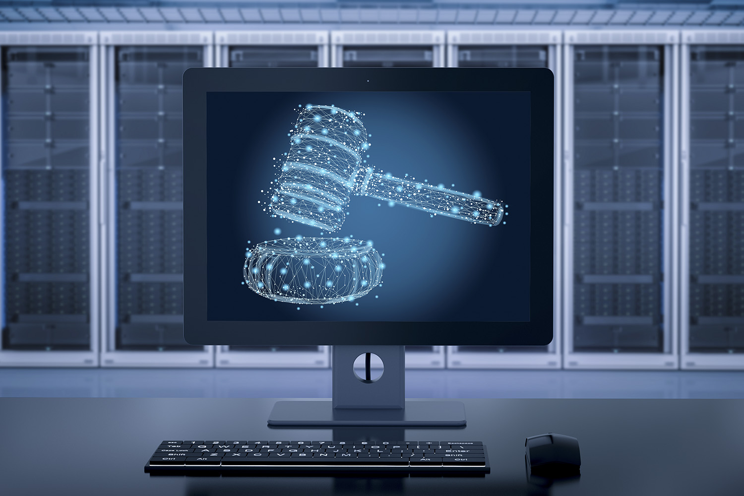 Internet law concept with 3D rendering on computer monitor displaying a judge's gavel