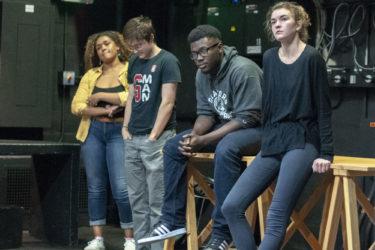 Actors Sequoiah Hippolyte (Paulina), Tyler Miller (Dorn), Charles L. Wattley III (Trigorin) and Fiona Maguire (Arkadina) at rehearsal.