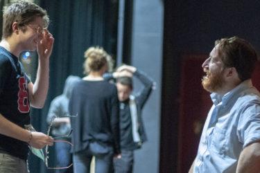 Actor Tyler Miller (Dorn) talks with director Michael Rau.
