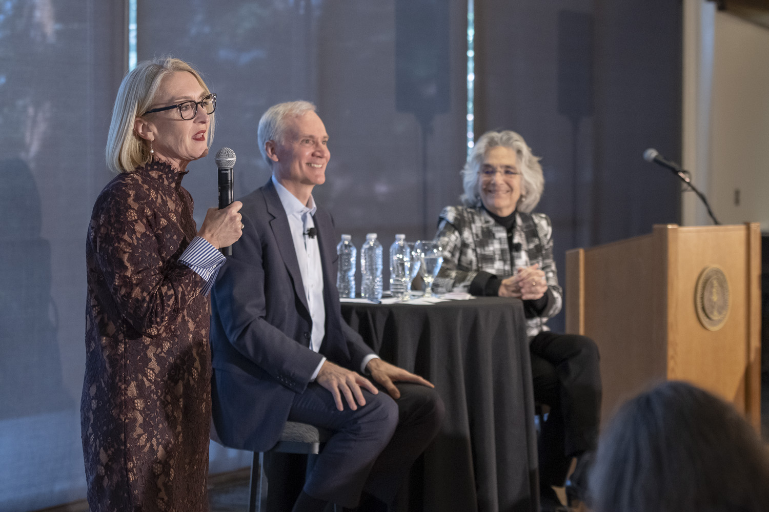Elizabeth Zacharias, Vice President for Human Resources with Marc Tessier-Lavigne and Persis Drell at community conversation 3/8/19