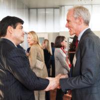 Marc Tessier-Lavigne greets President Alvarado.