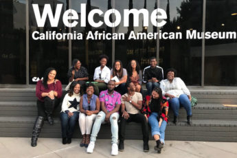 Students in the African and African American Studies program visit the California African American Museum in Los Angeles in 2017.
