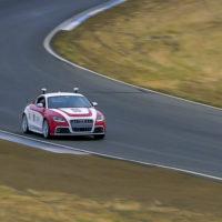 Shelley, Stanford's autonomous Audi TTS, performs at Thunderhill Raceway Park.
