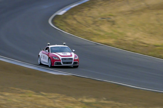 Shelley, Stanford's autonomous Audi TTS, performs at Thunderhill Raceway Park.
