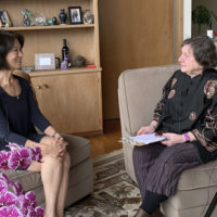 Kathy Ku being interviewed by Iris Brest