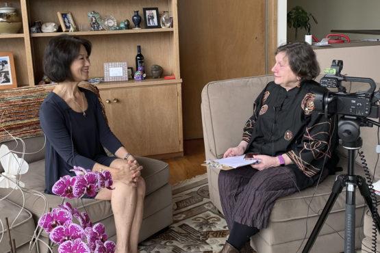 Kathy Ku being interviewed by Iris Brest