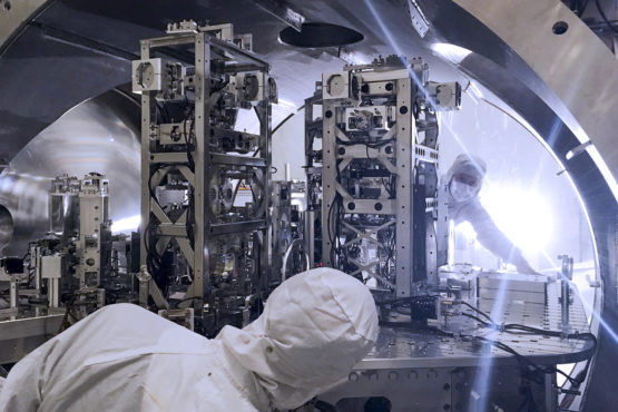 Engineers work on LIGO vacuum system