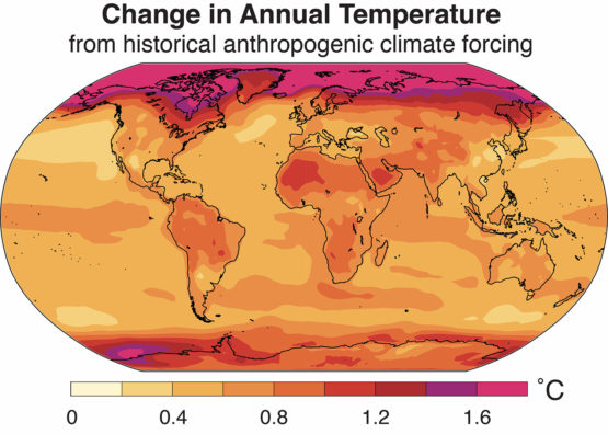 Map showing global temperature changes.