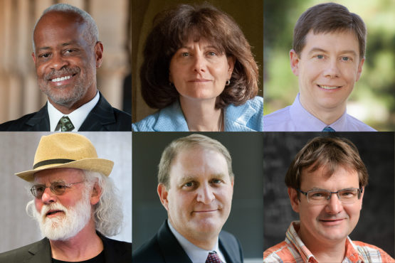 Stanford faculty members newly elected to the American Academy of Arts and Sciences are, from left, top row: Harry J. Elam Jr, Judith L. Goldstein and Charles I. Jones; bottom row, Roy Pea, Nathaniel Persily and Andras Vasy.